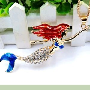 Betsey Johnson Crystal Mermaid Pendant Necklace